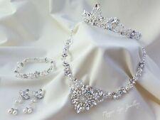 Bridal matching jewellery set. Wedding tiara, necklase, earrings, bracelet uk