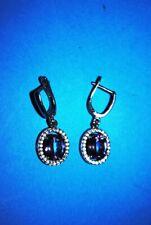 (925 sterling silver) Antique-Silver earrings .
