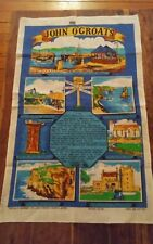 Vtg linen cotton tea towel Richlin John O'Groats Scotland UK landmarks story