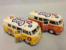 "2 Pcs 1962 VW Volkswagen Bus Peace Love 5"" DieCast 1:32 PullBack Kinsmart Toy YL"