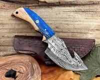 Custom Damascus Steel Gut Hook Full Tang Pocket Knife Epoxy Wood Handle