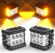 2 Pods Amber/White LED Truck UTV Side Strobe Light Work Flash Lights 60W