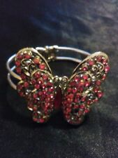 Fashion Silver Butterfly Design Hinged Bangle