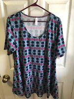 LuLaRoe Perfect T Blue Pink  Large Polka Dot T-Shirt Top Women's Size large