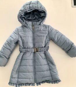 Monnalisa Girls Long Puffer Coat with Hood, Blue, Age 4, Never Worn