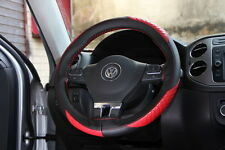 "New 14.5"" Racing Black & Red Steering Wheel Cover Wrap PVC Leather 47010 Medium"
