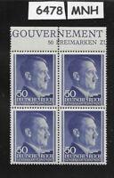 #6478     MNH 1943 block 50 Gr / Adolph Hitler /  Occupied Poland / Third Reich