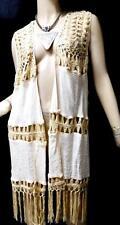 Rue+ tan brown plus size see through crochet trim fringed open vest 2X