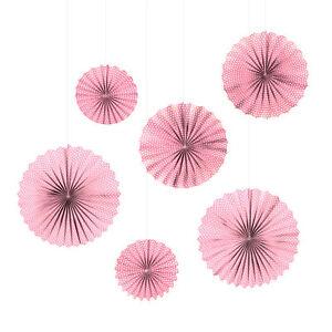 6 Faltrosetten Fächer Papier Deko Rosetten Hochzeit rosa kl. Punkte Ø25-40cm