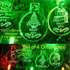 Baby's First Christmas Ornaments Miniature Personalized w Name Acrylic Set of 4