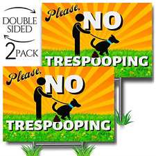 No Pooping Dog Signs for Yard, Clean Up After Your Dog Signs 2-Pack Double-Sided