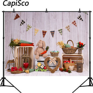 Photography Backgrounds For Easter Spring Scenery RabbitToys Wooden Backdrops