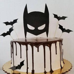 5pc Batman Birthday Cake Topper Super Hero Cartoon Black Bat Party Dark Knight