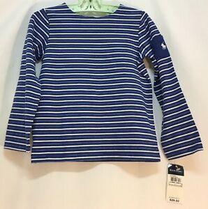 Ralph Lauren Girls Size 5 Blue & White Striped Long Sleeve Shirt Top NOS NWT