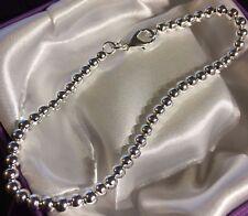 SB 01 Plum UK boxed 19.5cm x 4mm ball chain bracelet, sterling silver overlay