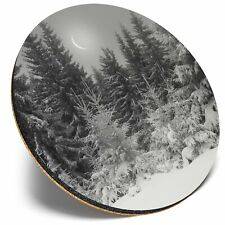 Round Single Coaster  - BW - Christmas Scene Winter Trees Lights  #35184