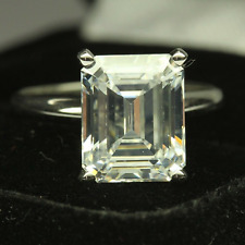 3.00 Ct Emerald Cut Brilliant Diamond Engagement Ring In 14k White Gold Plated