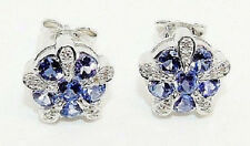 9CT HALLMARKED WHITE GOLD AAA GRADE TANZANITE & DIAMOND CLUSTER STUD EARRINGS