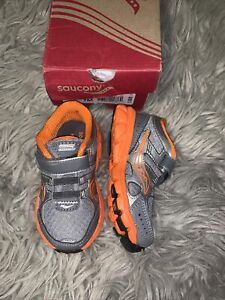 Saucony Toddler Boys Size 7 M Crossfire AC Grey Orange Sneakers New With Box
