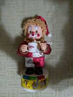 Vintage Musical Creepy Circus Clown Doll, Battery Operated, blowing bubbles