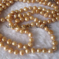 "52"" 8-9mm Champagne Baroque Freshwater Pearl Necklace Fashion Jewelry U"