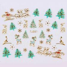 USA GOLD METAL LINED CHRISTMAS 3D Nail Art Stickers TREES SANTA SNOWFLAKES BOWS