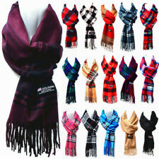 Winter 100% CASHMERE Checked Solid Scarves Plain Plaid Wool SCOTLAND Made Scarf