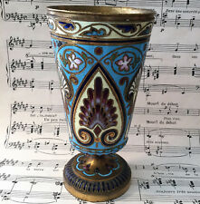 Rare Antique French Champleve Enamel Chalice Ciborium Vase c1880