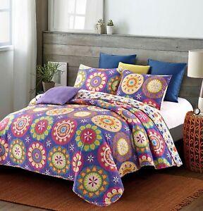 Suri Purple 3 Piece King Size Quilt Set Blanket w/2 Matching Shams Pillow Cases