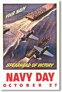 Your Navy Spearhead of Victory - NEW Vintage Reprint POSTER