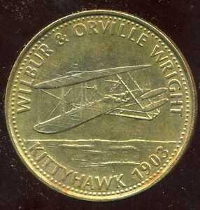 jeton SHELL   WILBUR & ORVILLEZ WRIGHT   KITTYHAWK 1903  ( bis )