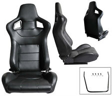 1 PAIR BLACK PVC LEATHER RACING SEATS RECLINABLE ALL CHEVROLET *