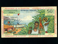 French Antilles:P-9a,50 Francs,1964 * Guadeloupe/Guyane/Martinique * VF *