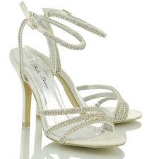 Womens Ankle Strap Stiletto Heel Ladies Diamante Party Peep Toe Sandals Shoes