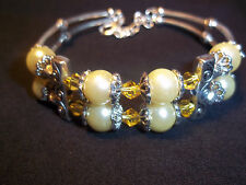 Pearl Bead Cuff Bracelet B-01 Adjustable Yellow Crystal & Yellow