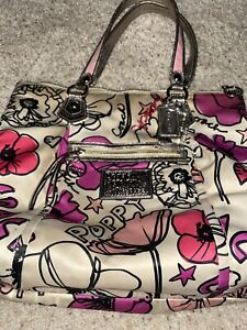 COACH Large POPPY PETAL GLAM Pink Silver Leather Sateen Purse 16306 Limited Ed.