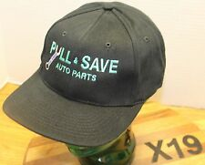 NWOT PULL & SAVE AUTO PARTS HAT BLACK STRAPBACK ADJUSTABLE EMBROIDERED X19