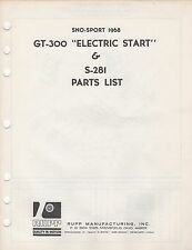 1968 RUPP SNOWMOBILE SNO-SPORT GT-300 ELECTRIC START PARTS/PRICE MANUAL (961)