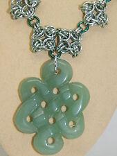 Big Carved Aventurine Pendant, Hand-Made Anodised Aluminium Chain Maille Chain