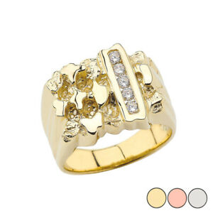 Solid Men's Gold Diamond Nugget Ring in Yellow Gold