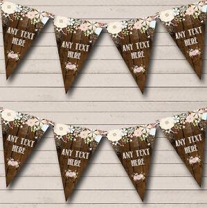 Rustic Wood Floral Personalised Wedding Bunting Banner Garland