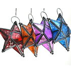 Glass Hanging Five-pointed Star Tea Light Holder Candle Lantern Deco Colorful AS