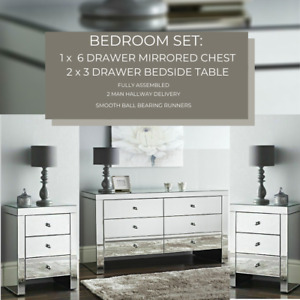 Bedroom Deal: Mirrored 6 Drawer Storage Cabinet with 2 Matching Bedside Tables