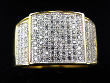 0.40 Ct Round Diamond Stadium Pinky Fashion Men Band Ring 14K Yellow Gold Over