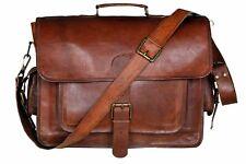 Large Real Goat Leather Vintage Messenger Shoulder Laptop Briefcase Bag Satchel