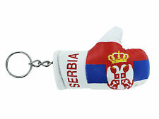 mini boxing gloves keychain keyring key chain leather Flag serbia serbian