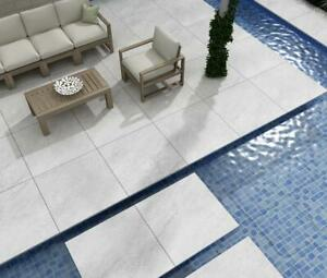 Quartz White Porcelain Paving Slabs Exterior Swan Edge Patio Tiles Free Shipment
