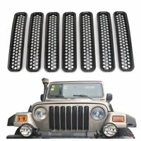 For 1997-2006 Jeep Wrangler TJ Front Grille Cover Shell Insert Mesh Black 7 PCS