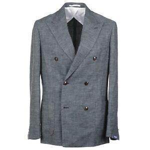 Barba Napoli Green-Gray Woven Linen and Wool Sport Coat 42R NWT $1350