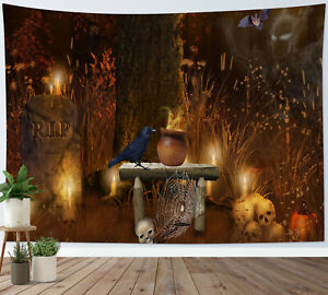 Scary Forest Tombstone Pumpkin Skull Tapestry Wall Hanging Living Room Bedroom